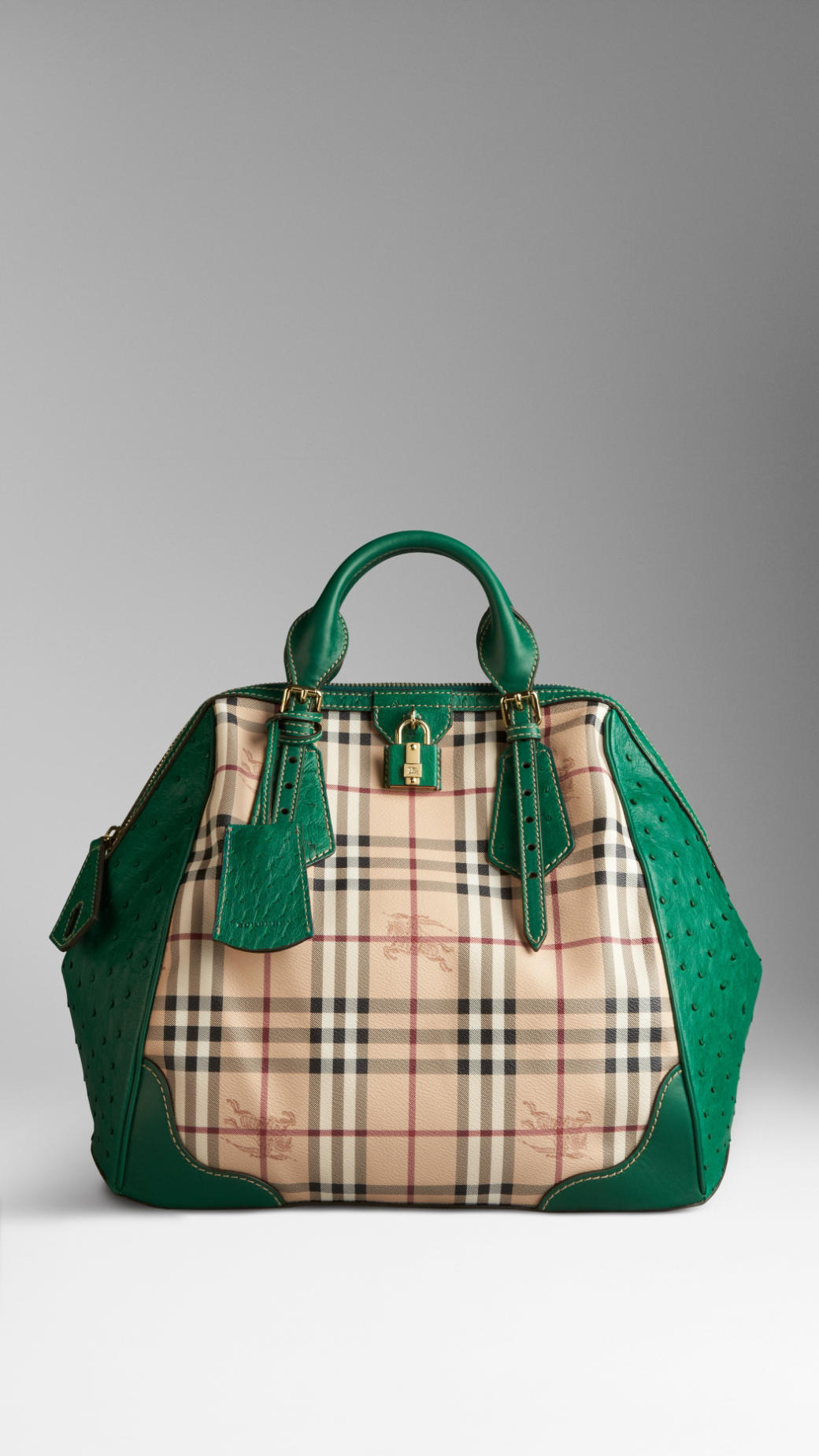 Sac Burberry The Blaze en check et autruche