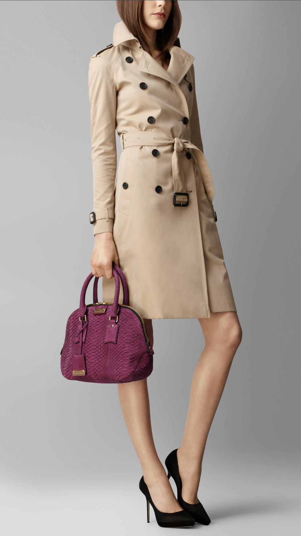Sac de luxe Burberry The Orchard en python nubuck