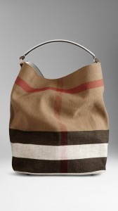 sac burberry pas cher Hobo medium en toile check